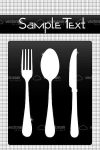 White on Black Cutlery Set with Sample Text