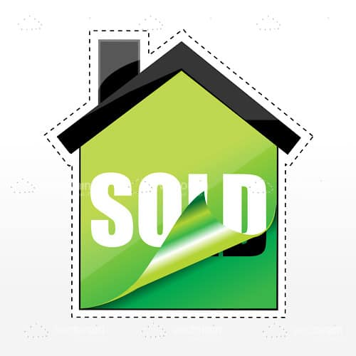 Abstract House Sticker with Sold Text