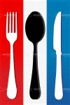 Black and White Cutlery on Red, White and Blue Napkin