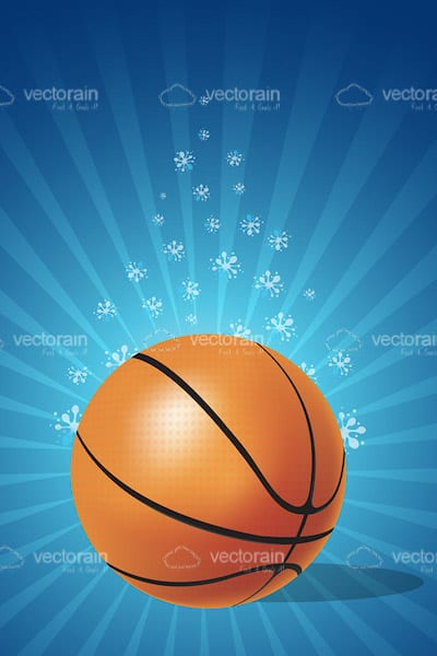 Basketball Ball on Background with Abstract Flowers