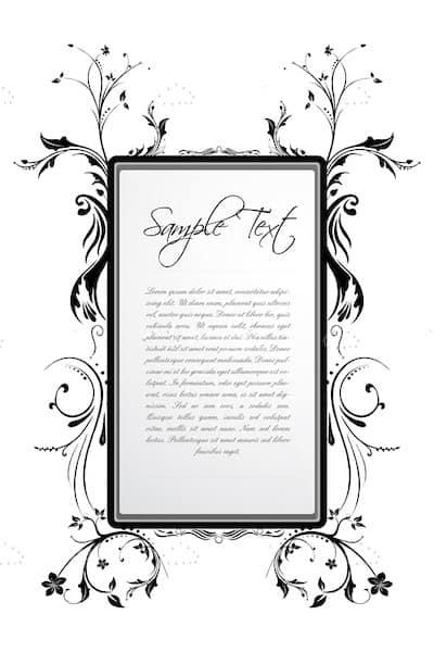 Beautiful Frame with Floral Decoration and Sample Text