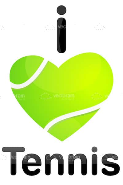 I Love Tennis Theme with Heart Shaped Tennis Ball