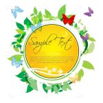 Yellow Circular Background with Floral Decoration and Sample Text