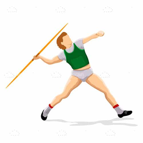 3D Athlete Figurine Throwing a Javelin