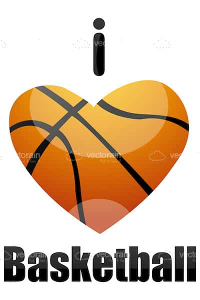 I Love Basketball Text with Heart Shaped Basketball Ball