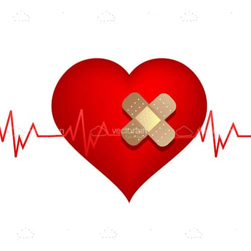 Abstract Red Heart with Plaster and Cardiogram