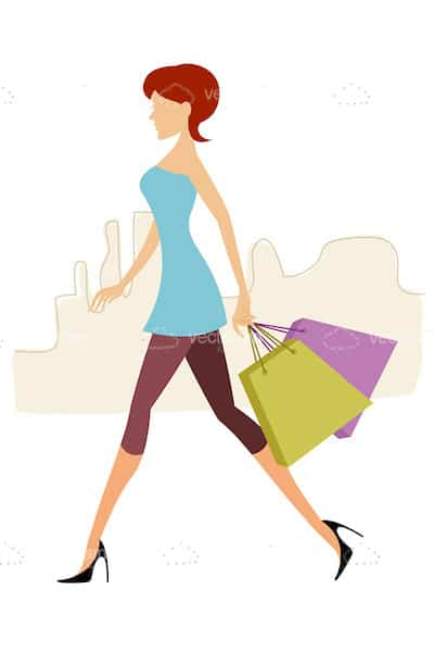 Stylized Woman with Shopping Bags