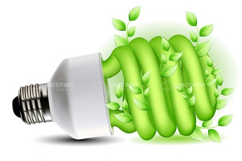 Green CFL Lightbulb with Plant Around Lamp