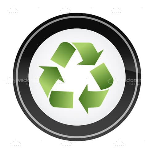 Round Recycle Icon Badge