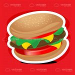 Illustrated Burger with Cut-Out Style