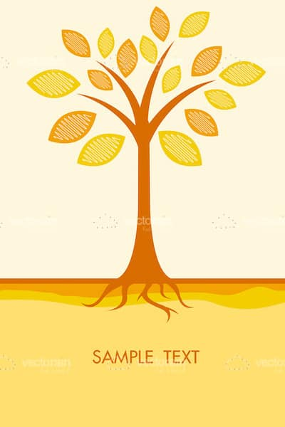 Abstract Tree in Autumn Colors with Sample Text