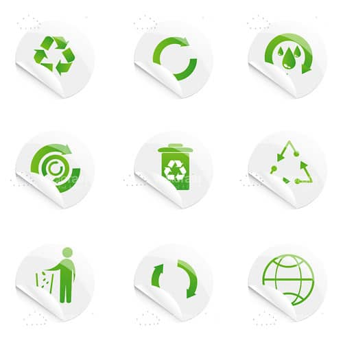 Recycle Stickers Icon Set Vectorjunky Free Vectors Icons Logos