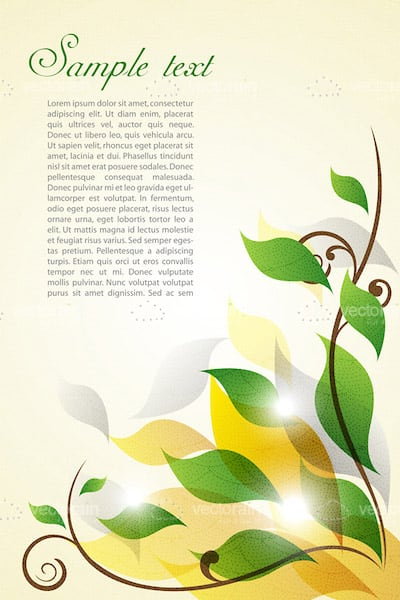 Glossy Floral Background with Sample Text