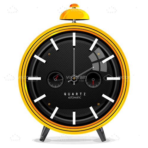 Illustrated Golden Alarm Clock