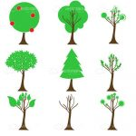 Minimalist 9 Pack of Tree Icons
