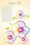 Colorful Outlined Floral Background with Sample Text