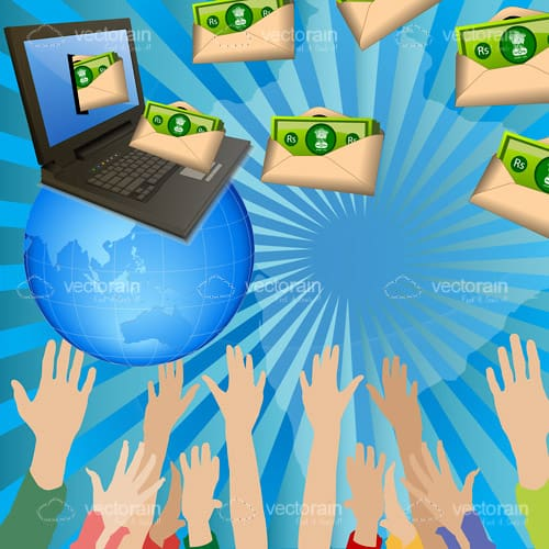 Money Themed Design with Laptop, Earth Globe, Money and Hands