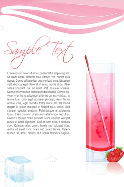 Strawberry Juice with Background and Sample Text