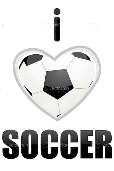 I Love Soccer Theme with Heart Shaped Soccer Ball