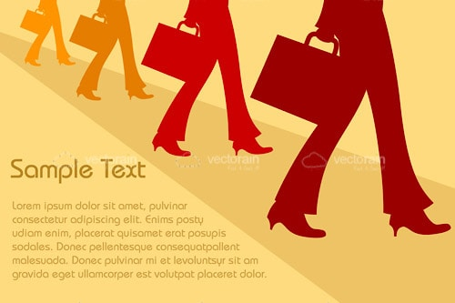 Businessmen Silhouettes Background with Sample Text