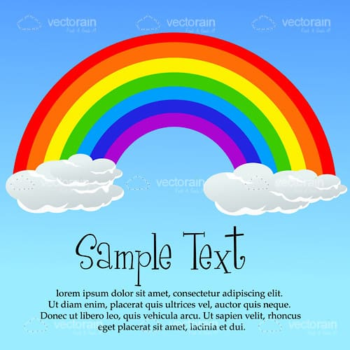 Rainbow with Puffy Clouds on Blue Sky with Sample Text