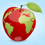 Abstract Red Apple with World Map