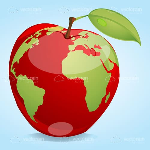 Abstract red apple with world map vectorjunky free vectors abstract red apple with world map gumiabroncs Images