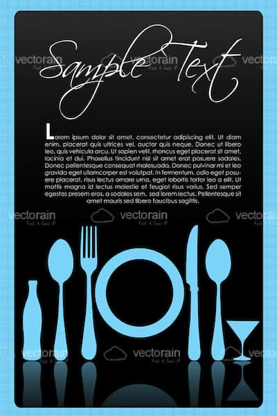 Light Blue Cutlery, Plates, Bottles and Glasses with Sample Text