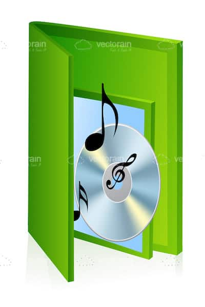Musical Notes and CD's in a Green Case