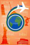 Earth Logo with White Silhouette Plane on Orange Touristic Sites Background