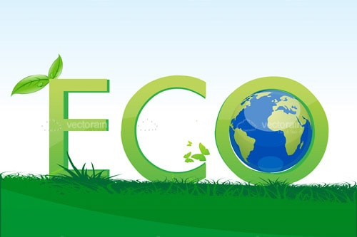 Green Eco Text with Leaf and Earth Globe