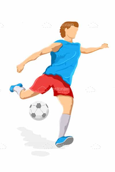 Illustrated Football Player in Blue Shirt and Red Shorts