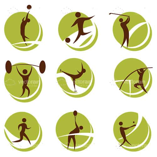 Abstract People Playing Sports Icon Set