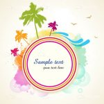 Abstract Colourful Scenery Card with Sample Text