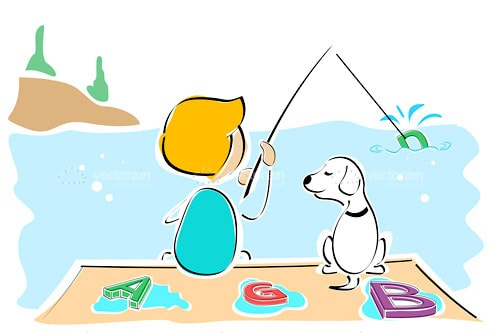 Illustrated Boy and Dog Fishing