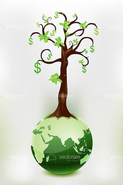 Abstract Tree with Dollar Symbols on Earth Globe