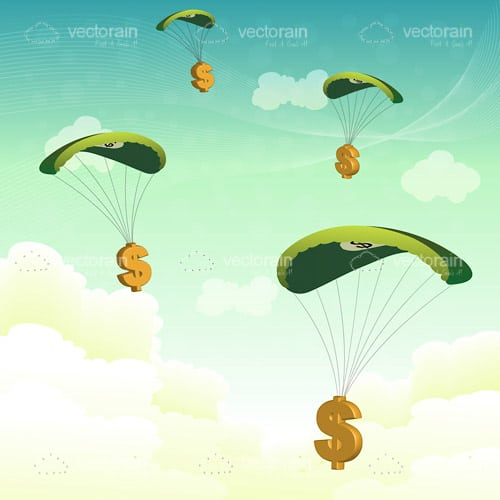 Parachuting Dollar Symbols