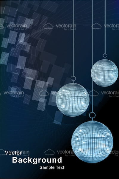 Abstract Trio of Discoball on a Blue Background