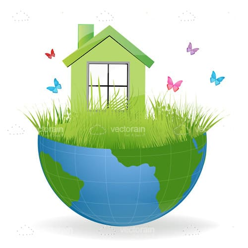 Half Earth Globe with Grass, House and Butterflies