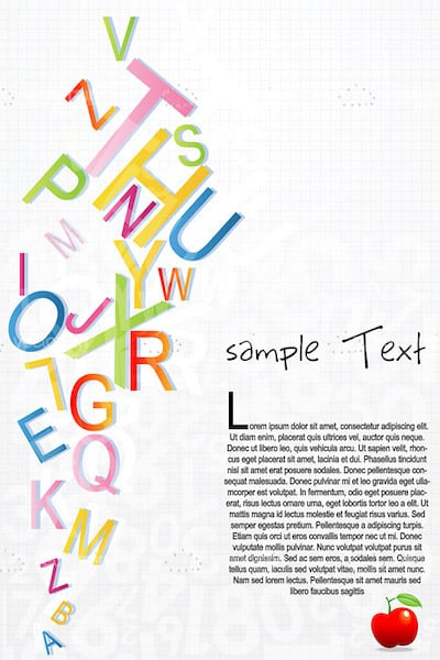 Alphabetical Pattern Background with Colorful Letters and Sample Text