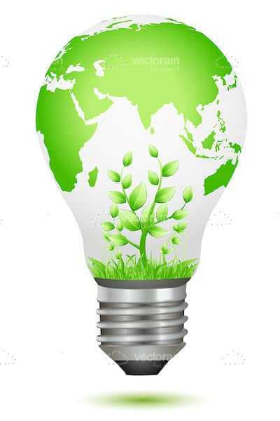 Lightbulb with Word Map and Plant Growing Inside