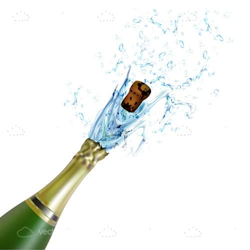 Champagne Bottle with Splashing Champagne and Cork