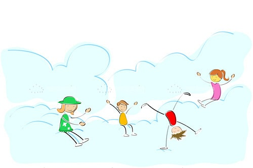 Illustrated Children Playing in Puffy Clouds