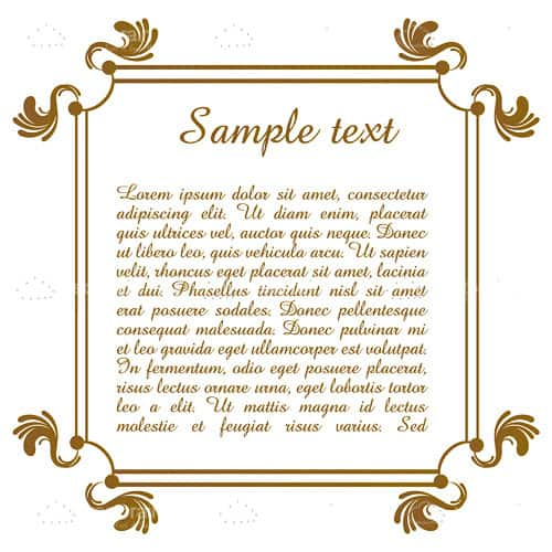 Classic Golden Frame with Floral Ornaments and Sample Text
