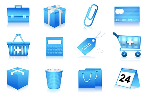 Blue Shopping Icons 12 Pack