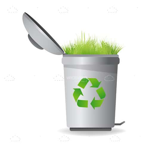 Recycle Bin with Green Grass