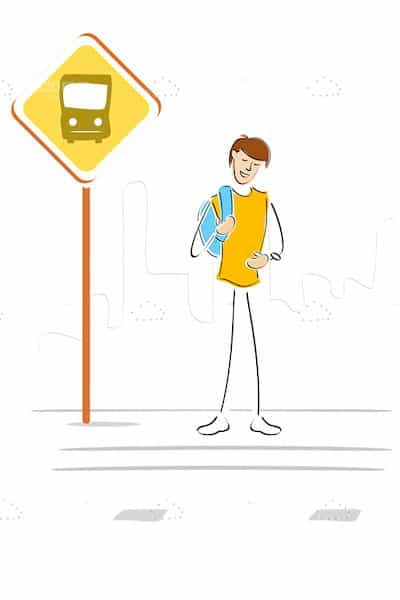 Illustrated Guy with Bag Waiting for the Bus