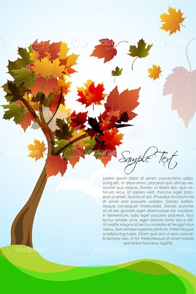 Autumn Background with Tree and Sample Text