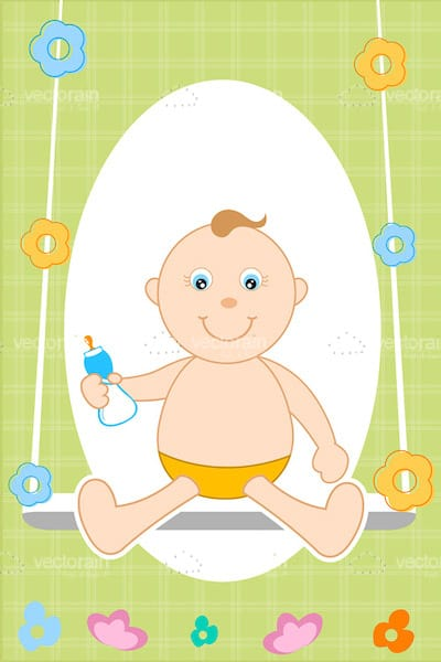 Baby on Swing with Baby Bottle