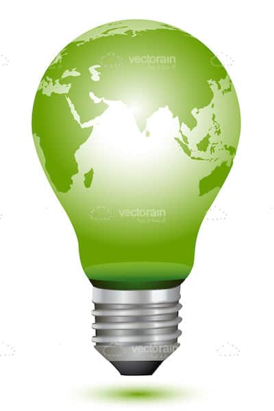 Green Lightbulb with World Map Print